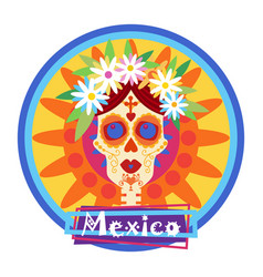 Skull day of dead concept traditional mexican vector