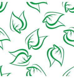 Spring green leaves seamless pattern vector
