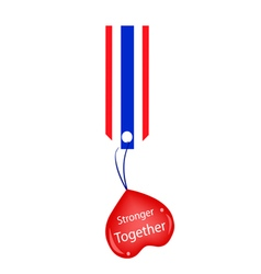 Stronger together heart hanging on stripe tag vector