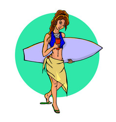 Surfer with surfboard vector