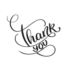 thank you words on white background hand drawn vector image vector image
