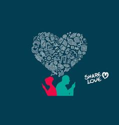 Valentines day senior couple internet love design vector