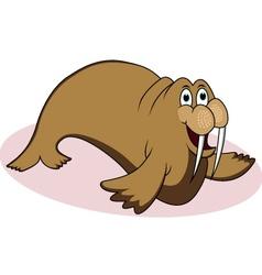 walrus cartoon vector image vector image
