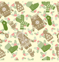 winter clothes and accessories and holly berries vector image