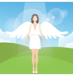 Woman female angel with feather wings standing vector