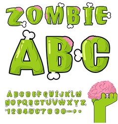 Zombie abc bones and brains horror monstr font vector