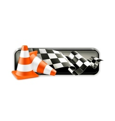 Racing banner with traffic cones vector image