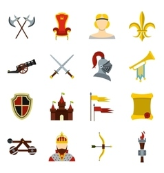 Knight icons set flat style vector