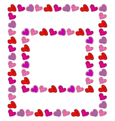 Two hand drawn hearts frames vector image