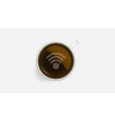 Coffee cup and wifi symbol concept icons design vector image