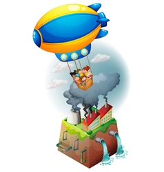 Kids carried by an airship vector image