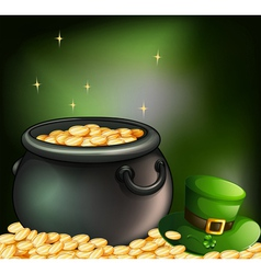 A pot of coins and a green hat vector
