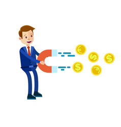 Cartoon businessman with big magnet vector