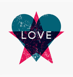 love heart and star grunge abstract background vector image