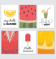 hello summer collection cards vector image