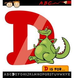 Letter d with dragon cartoon vector