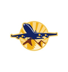 Propeller airplane flying with mountains vector