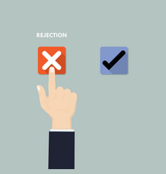 Hand pushing button with checkmarkrejection and vector