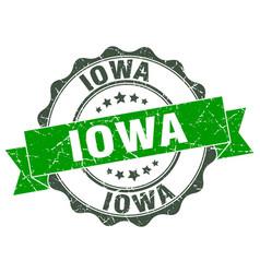 Iowa round ribbon seal vector