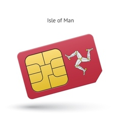Isle of man mobile phone sim card with flag vector