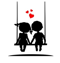 Silhouettes of a boy and girl vector image