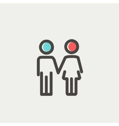 Little siblings thin line icon vector image