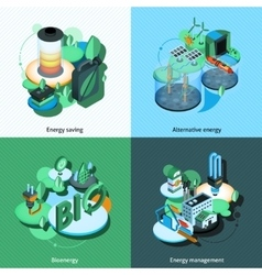 Green energy isometric vector