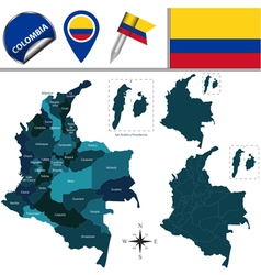 Colombia map with named divisions vector