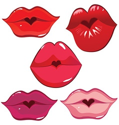 Lip heart red vector