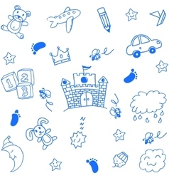 Doodle art for kids place toy and sky vector
