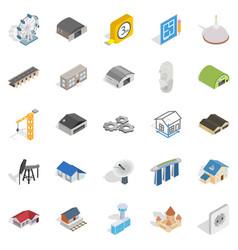 Architectonics icons set isometric style vector