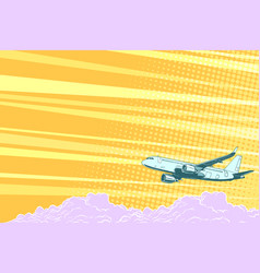 aviation aircraft flying above the clouds vector image