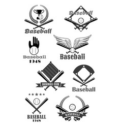 baseball sport club symbol design with bat ball vector image