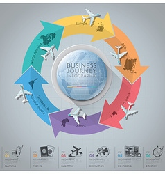 Business journey with global arrow airline vector