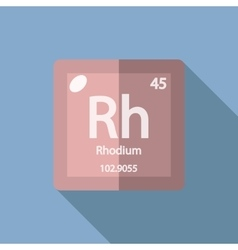 Chemical element rhodium flat vector