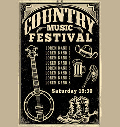 Country music festival poster template cowboy hat vector
