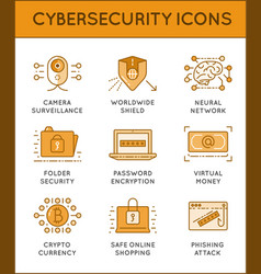 Cyber security thin line icons set computer vector