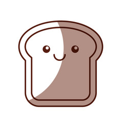 Delicious bread slice kawaii character vector