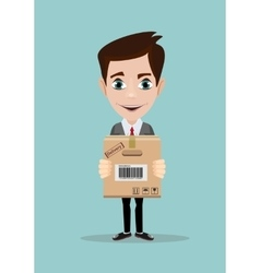Delivery service man with cardboard box vector