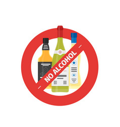 flat stop drinking icon of alcohol bottles vector image vector image