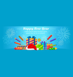 happy new year 2017 set of fireworks gift boxes vector image