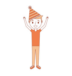 Happy young boy with party hat arms up vector