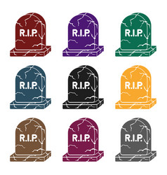 headstone icon in black style isolated on white vector image