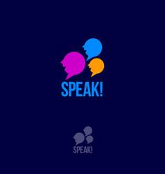 language school and community emblem or logo vector image