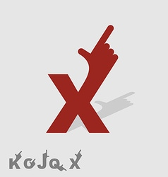 Letter x logo letters with a hand finger pointing vector