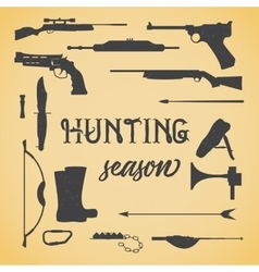 Objects for hunting weapons vector image vector image