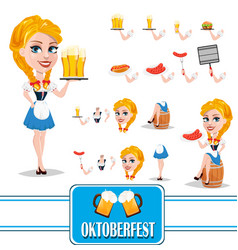 oktoberfest sexy redhead girl character creation vector image