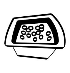 pot chicken food utensils outline vector image