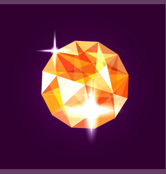 Realistic orange topaz jewel gem vector