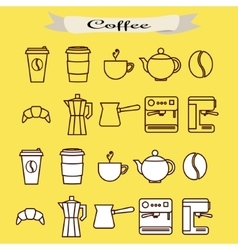 Set of coffee line icons vector image